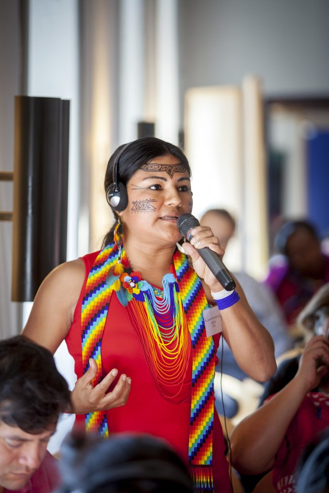 Deltager fra Latinamerika taler ved konference for IWGIAs 50års jubilæum